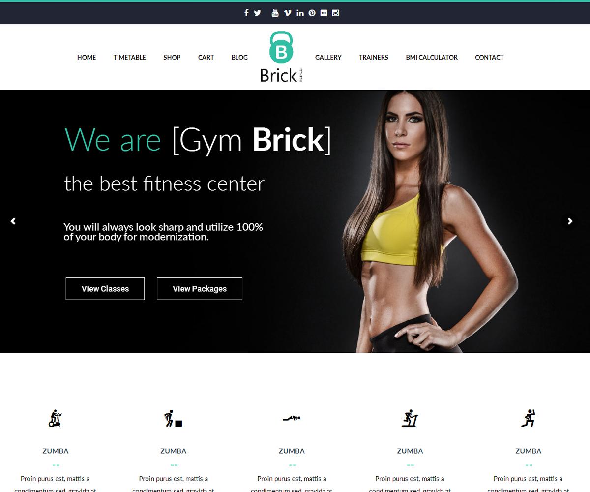 Gym brick gym fitness WordPress Theme RTL