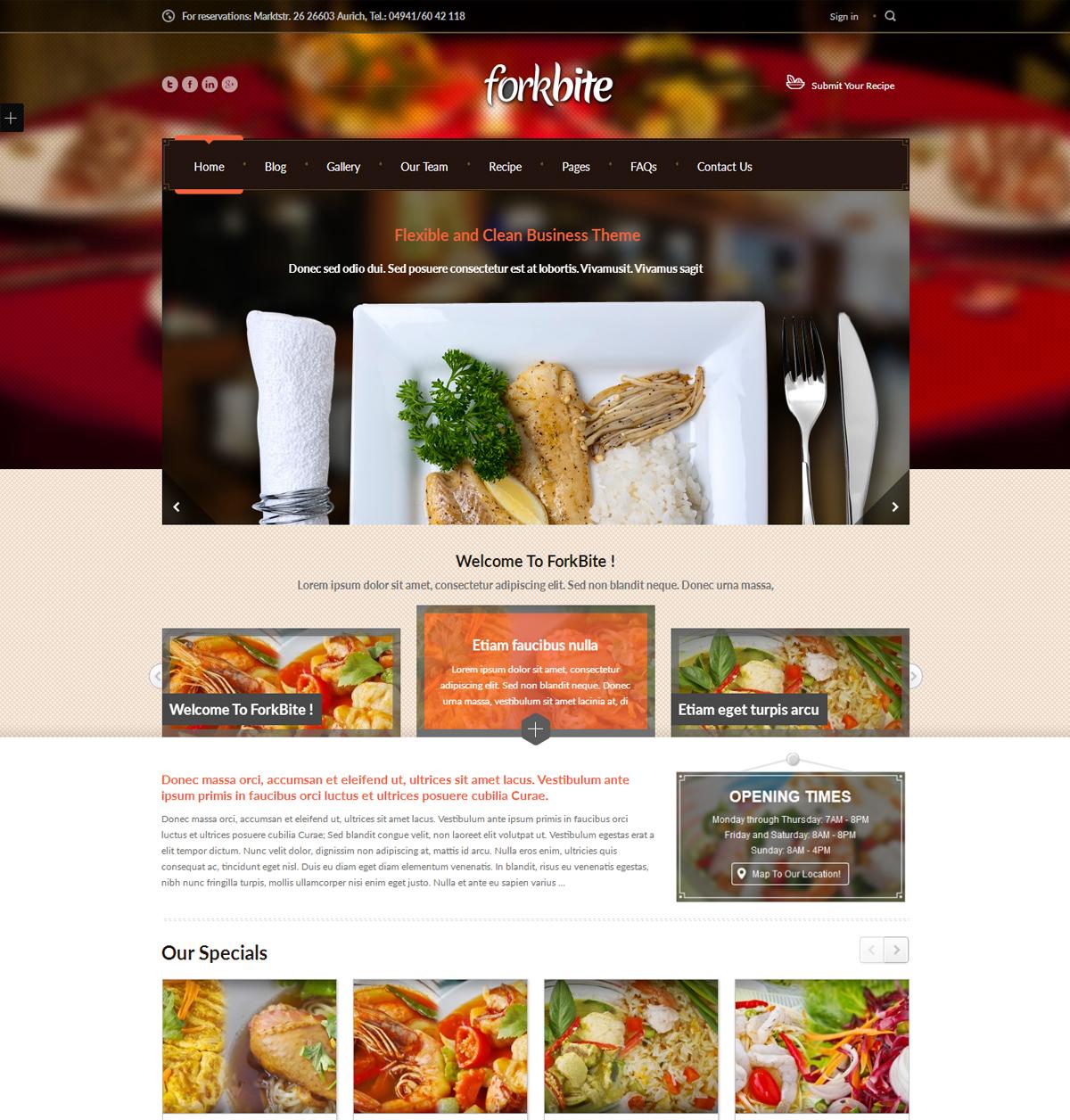 Forkbite Restaurant WordPress theme