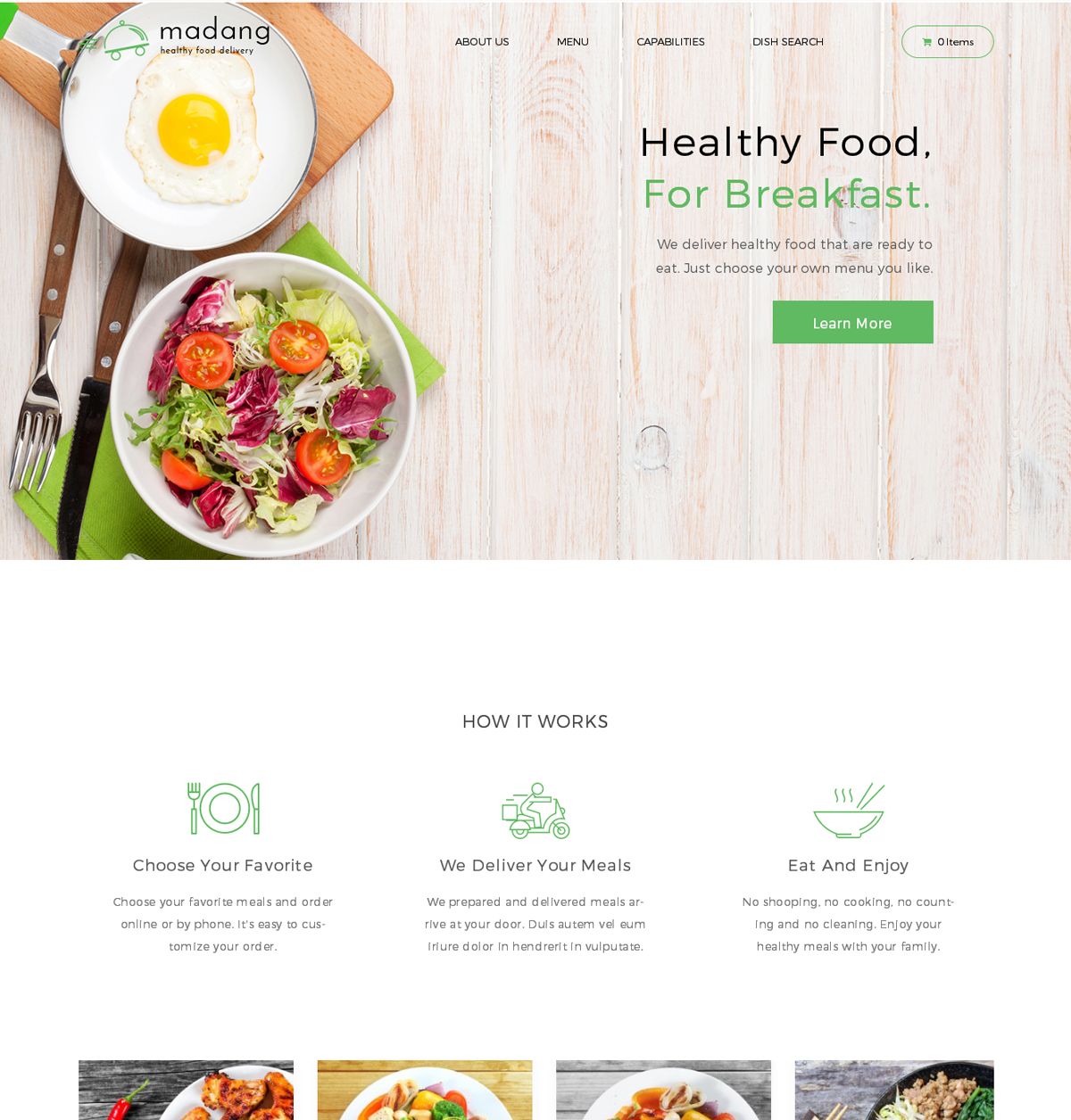 Madang Food Delivery Nutrition WordPress Theme