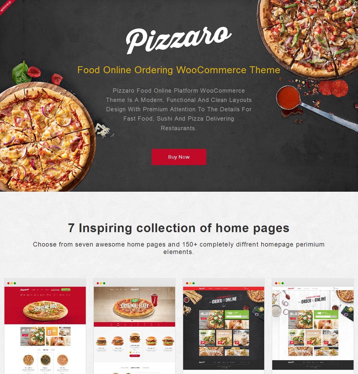 Pizzaro FastFood Restaurant WordPress Theme